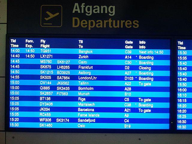 kastrup lufthavn afgang